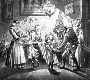 Krampus and Saint Nicholas visit a Viennese home in 1896
