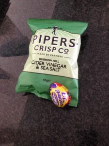 Crisps and a chocolate egg